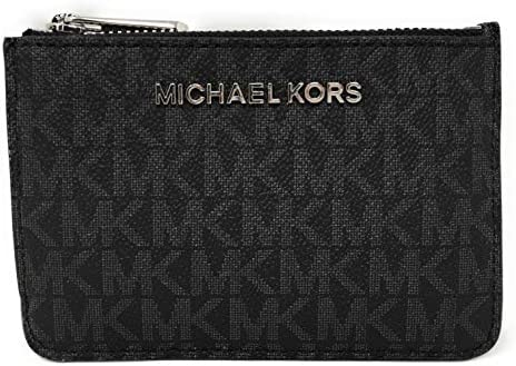 Michael Kors Jet Set Travel Small Top Zip Coin Pouch with ID Holder - PVC Coated Twill (Black with Silver Hardware)