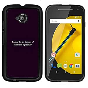 Negro Cita Vignette Inspiring Motivar- Metal de aluminio y de plástico duro Caja del teléfono - Negro - Motorola Moto E2 / E(2nd gen)