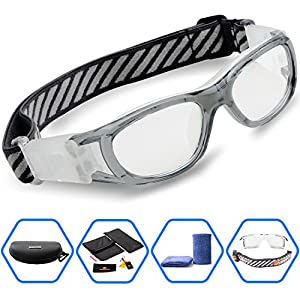 Ponosoon Sports Goggles Glasses for KIDS for Basketball Football Volleyball 1812(Transparent Gray)