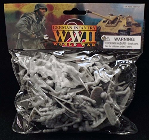 WWII German Infantry and Paratroopers 24 Piece Set Gray Plastic Toy Soldier Figures 1/32 Scale 2.25
