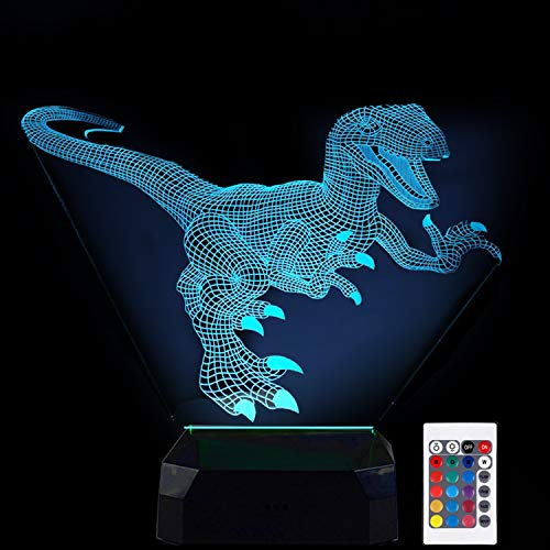 3D LED Optical Illusion Dinosaur Lamp,3D Night Light Dinosaur for Kid Bedroom Dinosaur Lamps with Remote Control 16 Color Touch Operated USB Battery Power Chargeable Home Decor Xmas Birthday Gift]()
