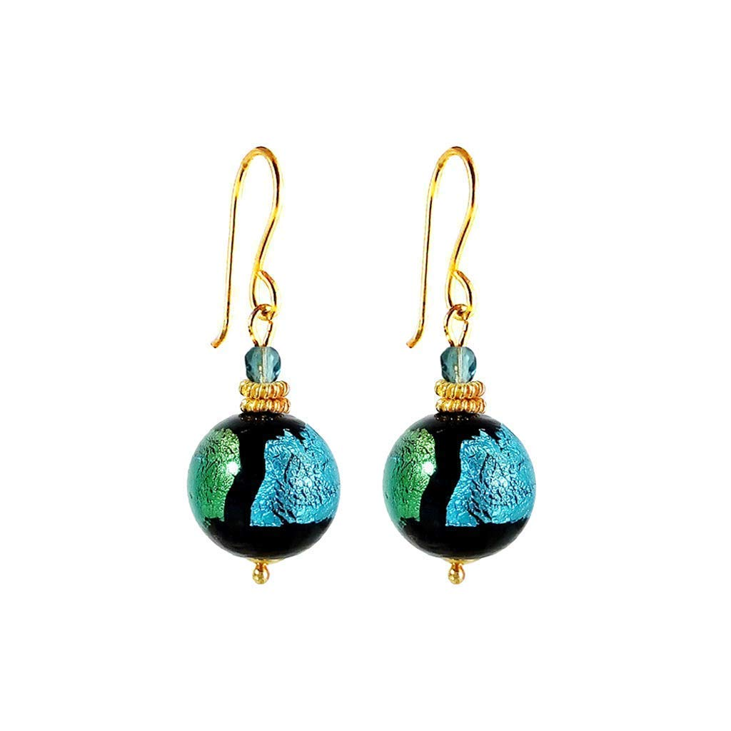 Murano Glass Earrings Sea Jewel in Turquoise and Teal by I Love Murano