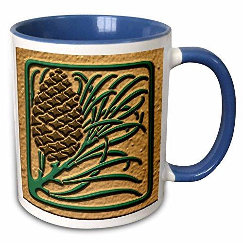 3dRose Russ Billington Christmas Designs - Photo of Art Nouveau Pine Cone Tile Design- Flat 2D Image not embossed - 15oz Two-Tone Blue Mug (mug_222008_11)