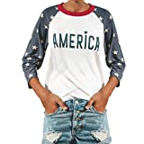 Spbamboo Women Casual America Star Print Letter Blouse 3/4 Sleeve Top Shirt Tee