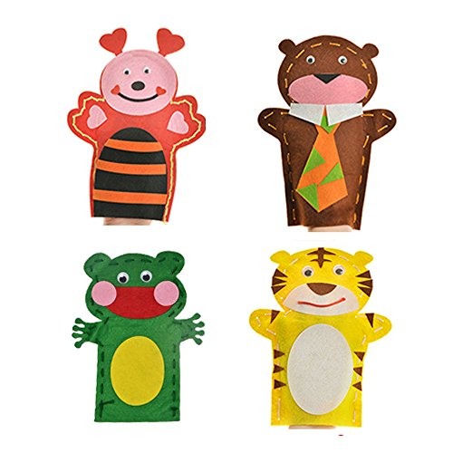 DOER Edutainment Sewing Kit for Beginners – DIY Craft Hand Puppet – An Educational Fun Toy (4 Set) (Animal) (Puppet Animal Patterns)