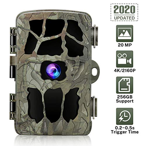 20MP Trail Camera 4K Game Camera, GRM Wildlife Camera with Night Vision Waterproof Security Camera 0.2s Trigger Time Motion Activated Support 256G TF Card (Not Included)