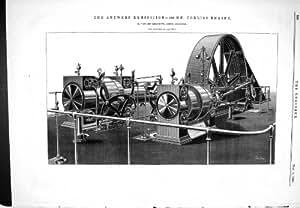 Impresión Antigua de 1885 MOTORES KERCHOVE de la EXPOSICIÓN CORLISS de AMBERES QUE DIRIGEN 400 CABALLOS DE FUERZA