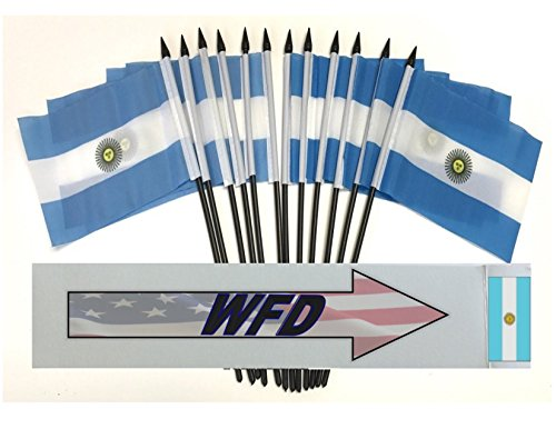 """PACK of 12 4""""x6"""" Argentina Miniature Desk & Table Flags, 1 Dozen 4""""x 6"""" Argentine Small Mini Stick Flags (Flags Only)"""