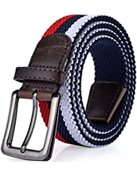 Braided Elastic Stretch Belt, Comfort and Soft, with Key Chain, Men's or Women's
