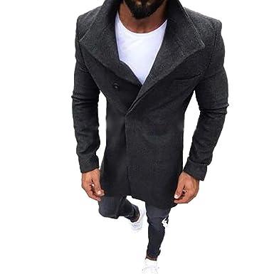 Hombre Casual Chaqueta Jacket Cazadora Mangas Largas Cierre De El botón Outwear Tops Slim Elegante Manga Larga Trench Coat Larga Parka Abrigo El ...