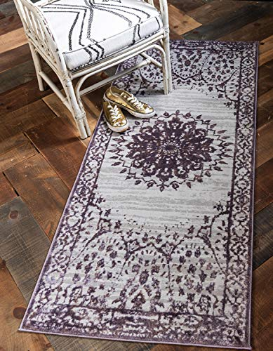 Unique Loom Aberdeen Collection Textured Traditional Vintage Tone-on-Tone Violet Runner Rug (2' 7 x 6' 0)