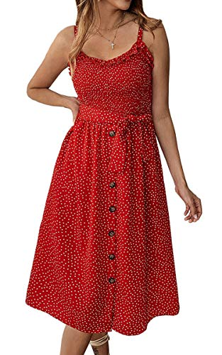 Hibluco Women's Sleeveless Adjustable Strap Ruffle Polka Dot Button Dress with Pockets Red ()