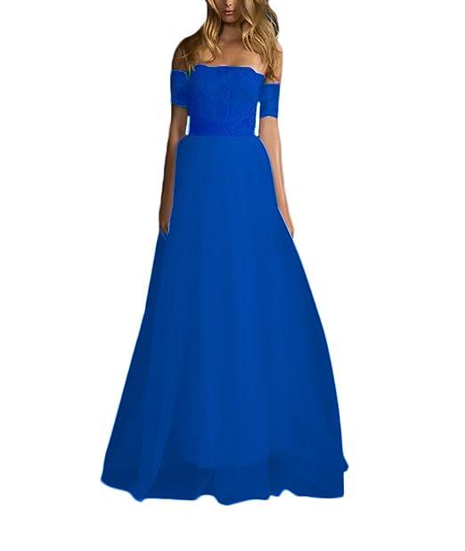 Lannister Fashion Mujer Vestidos De Fiesta Para Bodas Largos Elegantes Encaje Tul Una Línea Vestidos De