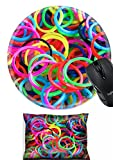 MSD Mouse Wrist Rest and Round Mousepad Set, 2pc Wrist Support design 30002988 colorful background rainbow colors rubber bands loom