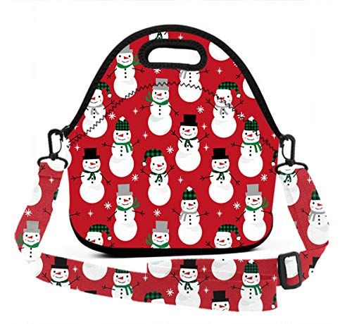 ART TANG Neoprene Lunch Tote - Christmas Snowman Waterproof Reusable Lunch Box for Men Women Adults Students Kids Toddler Nurses with Adjustable Shoulder Strap - Best Travel Bag ()