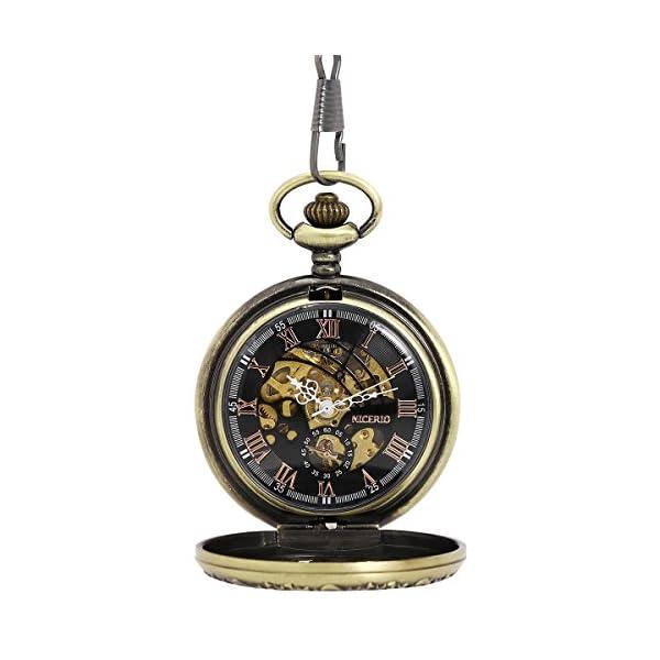 NICERIO Men Pocket Watch,Roman Numerals Semi-Auto Mechanical Windup Steampunk Pocket Watch with Fob Chain,Bronze 3
