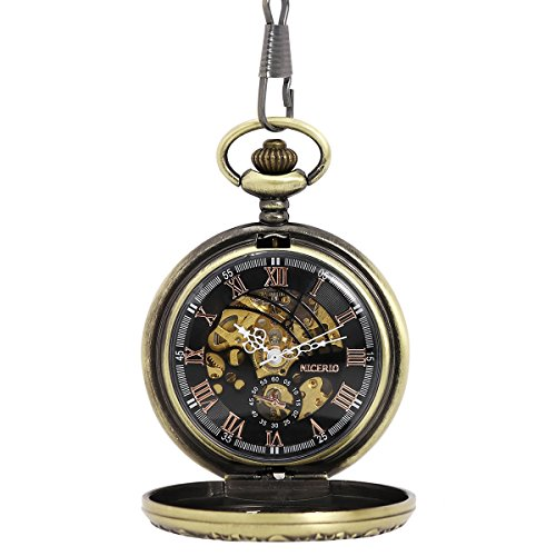 NICERIO Men Pocket Watch,Roman Numerals Semi-Auto Mechanical Windup Steampunk Pocket Watch with Fob - Wind Up Watch Pocket With Chain