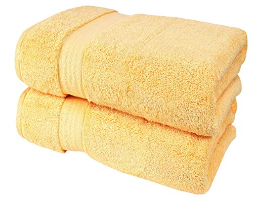 Glamburg 700 GSM Premium Cotton 2-Pack Oversized Extra Large Bath Sheet Set – 100% Combed Cotton – 2 Bath Sheets 35×70 – Luxury Hotel & Spa Quality – Durable Ultra Soft Highly Absorbent – Yellow