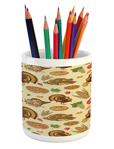 Lunarable Thanksgiving Pencil Pen Holder, Special Day Family Dinner Classical Delicious Meal Abundance Harvest, Printed Ceramic Pencil Pen Holder for Desk Office Accessory, Orange Brown (Delicious Family Meals)