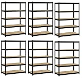 Heavy Duty Garage Shelf Steel Metal Storage 5 Level Adjustable Shelves Unit 72'' H x 48'' W x 24'' Deep (6 Pack)