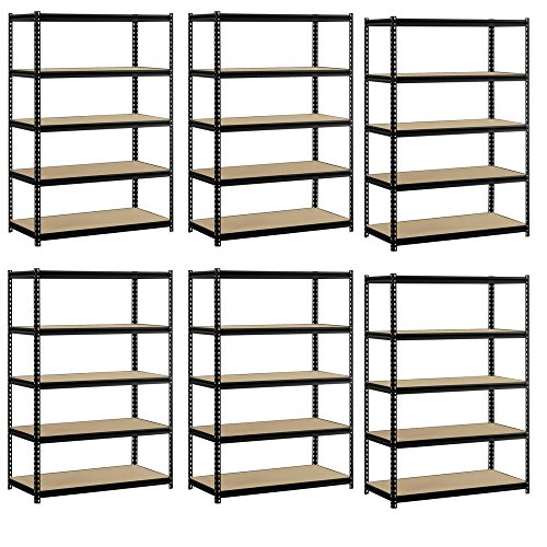Heavy Duty Garage Shelf Steel Metal Storage 5 Level Adjustable Shelves Unit 72'' H x 48'' W x 24'' Deep (6 Pack) by EDSAL