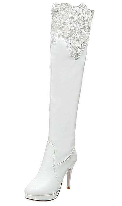 YE Lacé Chaussure Botte Extensibles Stretch Cuissared Femme Longue Talon  Plateforme Haut Aiguille Chaude Hiver  Amazon.fr  Chaussures et Sacs 4d7345a8d835