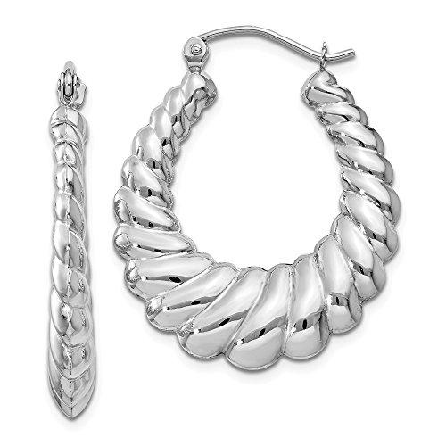 14K White Gold 4.00MM Scalloped Shrimp Hoop Earrings (14k Shrimp)