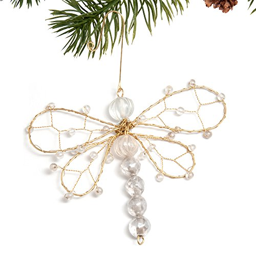 Sitara Collections Beaded Dragonfly Christmas Ornament, 4.5