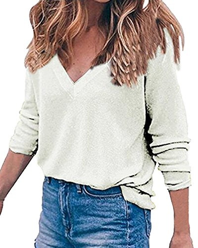 Blanc Z Pull V Chic Chemise Longues Casual Col Auxo 2XL 10 Couleurs Pullover T Shirt Hiver Manches Femme S Tops HwFqwBU