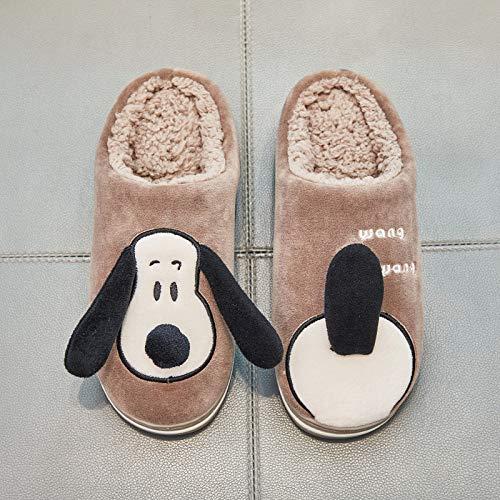 Shoes Hogar Para Perros gris De Mujer Caqui El Algodón Animados Zapatillas 40 Lindos Invierno 39 Antideslizantes Dibujos Interior PPzrAw