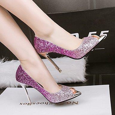 Talones de las mujeres Primavera Verano Otoño zapatos del club de boda sintético Fiesta y vestido de noche de lentejuelas de tacón de aguja azul púrpura rojo del oro Purple