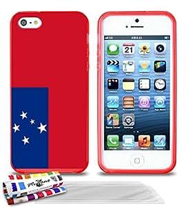"""Carcasa Flexible Ultra-Slim APPLE IPHONE 5 de exclusivo motivo [Bandera Samoa ] [Roja] de MUZZANO  + 3 Pelliculas de Pantalla """"UltraClear"""" + ESTILETE y PAÑO MUZZANO REGALADOS - La Protección Antigolpes ULTIMA, ELEGANTE Y DURADERA para su APPLE IPHONE 5"""