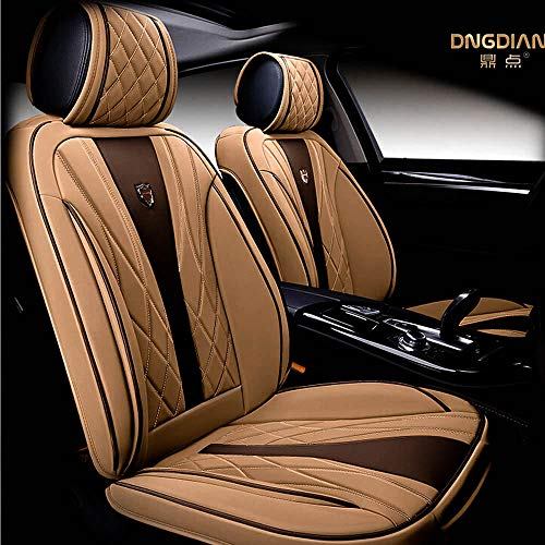 (Amooca Bucket seat Covers Anti-Slip Backing PU Leather car seat Covers Cushions 5 Seats Full Set for Most Cars,suvs,Vans Trucks Four Seasons )