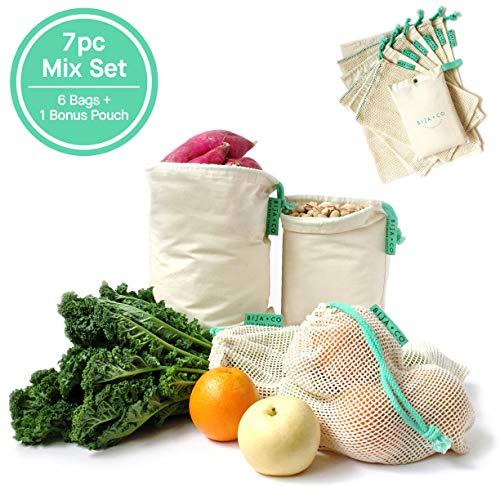 BIJA + CO Reusable Produce Bag | 100% Natural Cotton Muslin & Mesh Bags | Tare Weight on Label | Eco-Friendly | Machine Washable | 7 Piece Set (6 Food Bags + 1 Bonus Carry Pouch) ()