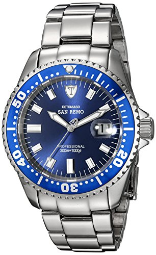 DETOMASO Men's DT1025-H SAN REMO Automatic Divers Watch  Classic blau/silber Analog Display Japanese Automatic Silver Watch