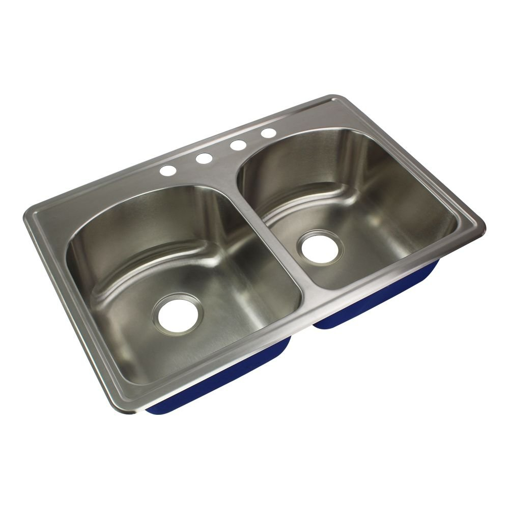 Transolid MTDD33229-4 Meridian 4-Hole Drop-in 50/50 Double Bowl 16-Gauge Stainless Steel Kitchen Sink, 33-in x 22-in x 9-in, Brushed Finish by Transolid
