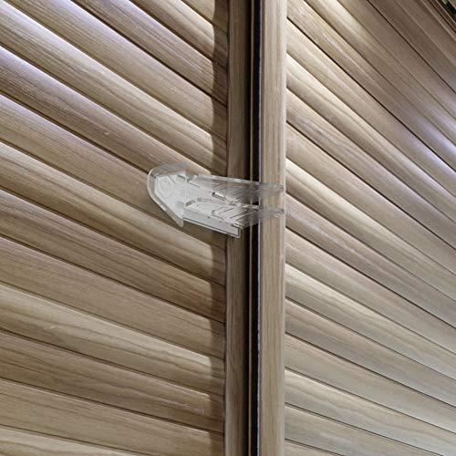 3M Adhesive Sliding Door Lock for Child Safety, Baby Proof Window Locks, Patio Door Lock, Closet, Screen Door Locks, Clear, 4 Pack