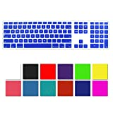 DHZ Blue Full Size CLEAR Ultra Thin Silicone Soft keyboard Cover Skin for Apple Keyboard with Numeric Keypad Wired USB for iMac
