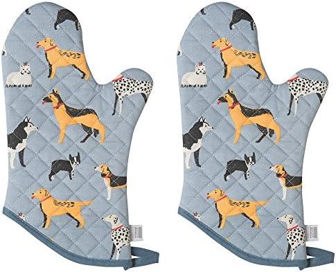 Flamingos Now Designs Basic Ofen Handschuhe Set von 2