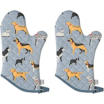 Now Designs Basic Oven Mitt, Dog Days - 6.5 x 13 in | Set of 2