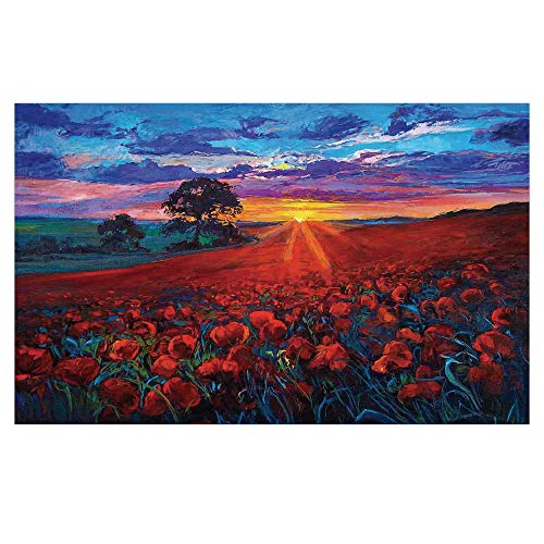 iPrint 3D Floor/Wall Sticker Removable,Country Decor,Scenery of Poppy Flower Garden on Valley with Horizon and Fairy Clouds at Sunset Paint,Multi,for Living Room Bathroom Decoration,35.4x23.6