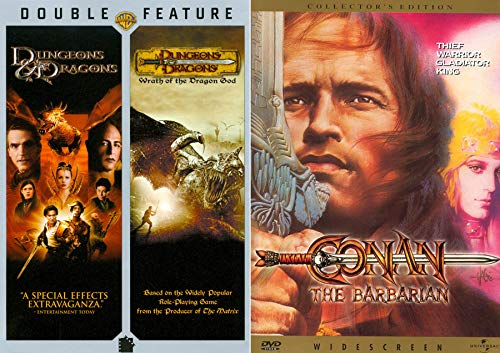 Thief Warrior King Fantasy Collection 3-Pack Conan The Barbarian + Dungeon & Dragons DVD / Wrath of the Dragon God Based on Role Playing Game Family Movie Triple Feature Bundle ()