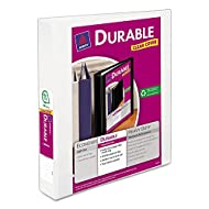 "Avery Durable View Binder, 1-1/2"" Slant Rings, 375-Sheet Capacity, DuraHinge, White (17022)"