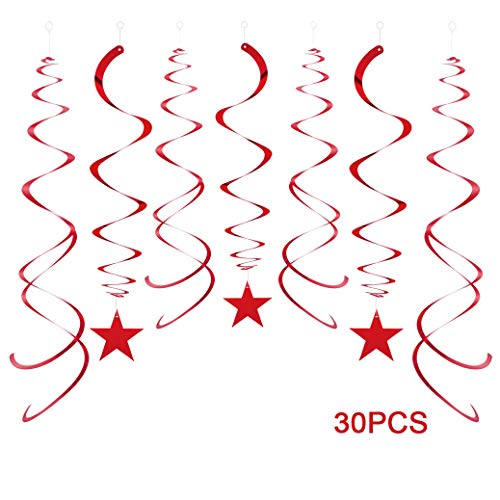 AimtoHome Party Star Swirl Decorations, Red Foil Ceiling Hanging Swirl Decorations with Star, Whirls Decorations for Birthday | Wedding | Anniversary | Graduation Party Supplies, Pack of 30 ()