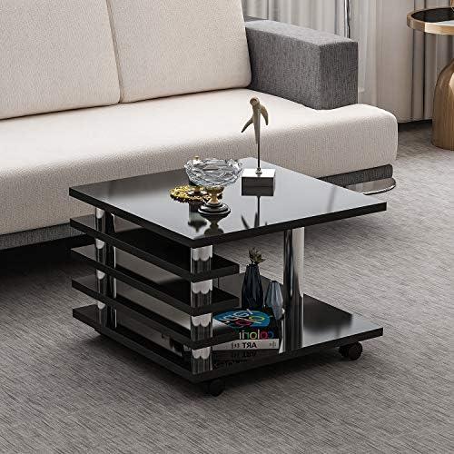 Goedkoopste Salontafel salontafel zwart hoogglans met wieltjes 65 x 65 cm tafel woonkamertafel Ih0Fg8W