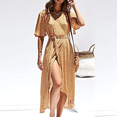 da80a33357b4a AREDC Women Floral Print Long Summer Dress 2019 Boho V Neck Short ...
