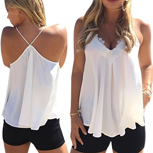 Blouse,START Women Summer Chiffon V Neck Net Color Sling Vest T-shirt for cheap