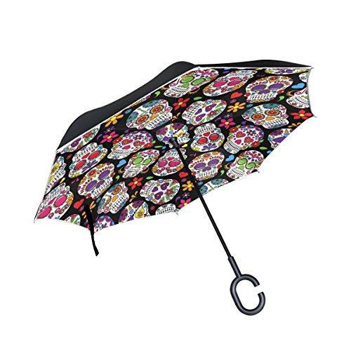 lavovo Dead Azúcar Flores y calavera invertida doble capa resistente al viento asa de paraguas del revés paraguas plegable...
