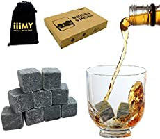 Whiskey Stones in Gift Box with Velvet Carrying Pouch, Design for Whisky, Scotch, Spirit Lovers, Gift Idea for Christmas...