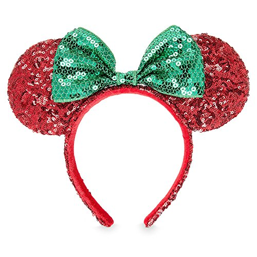 Disney Minnie Mouse Christmas Headband Ears Sequins Bow Green Red Theme Parks (Minnie Mouse Green Ears)